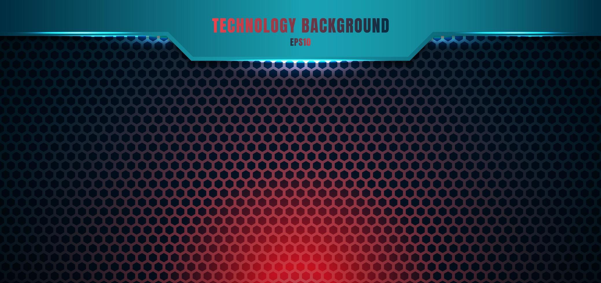mall blå geometrisk rubrik på hexagon mönster röd belysning bakgrund och textur med plats för din text. vektor