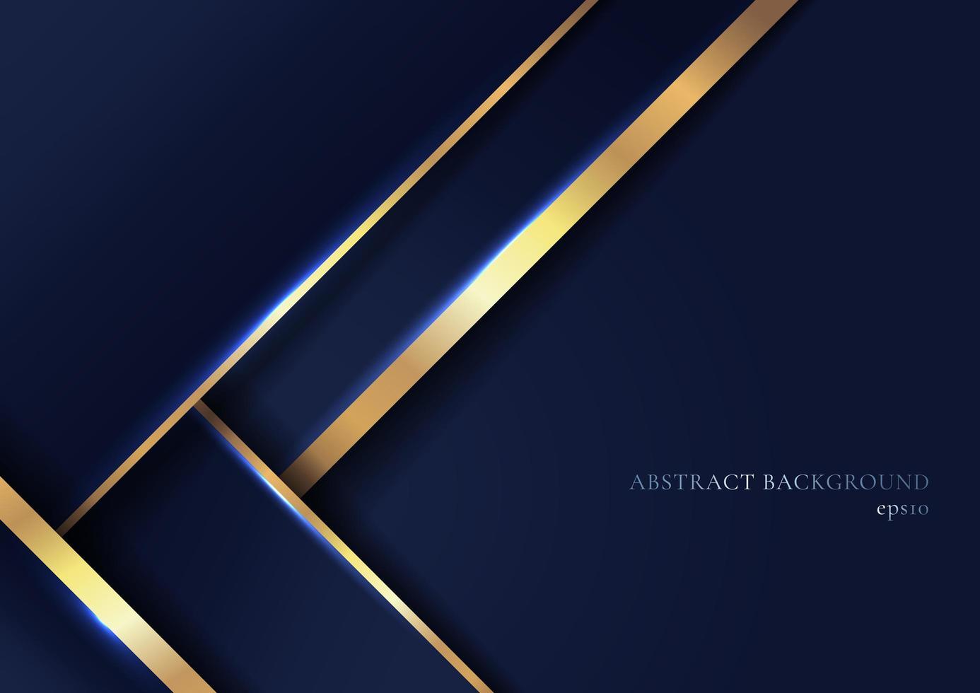 abstrakta eleganta blå geometriska överlappningsskikt med randiga gyllene linjer och belysning på mörkblå bakgrund. vektor