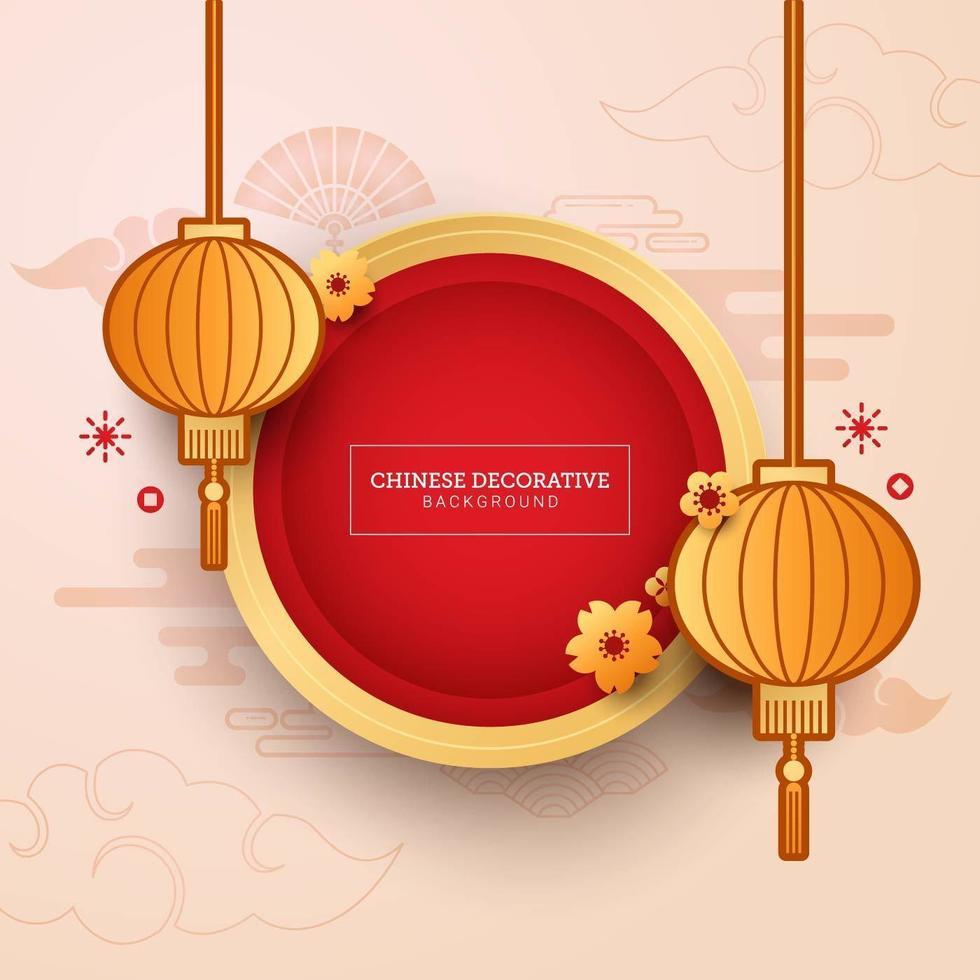 kinesisk dekorativ bakgrund för nyårskort vektor