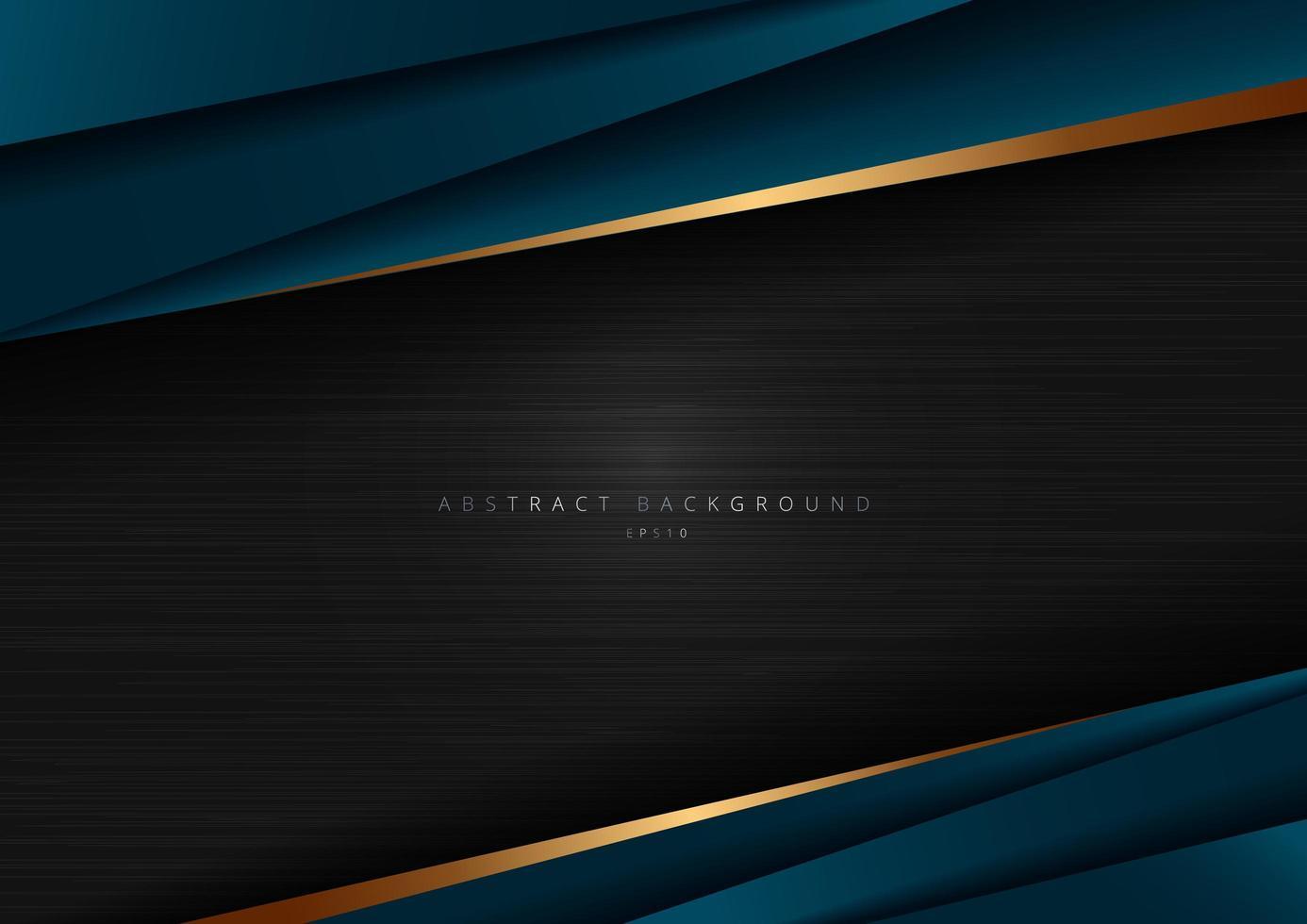 abstrakte Schablone dunkelblaue Luxusprämie auf schwarzem Hintergrund mit geometrischem Dreiecksmuster und goldenen gestreiften Linien. vektor