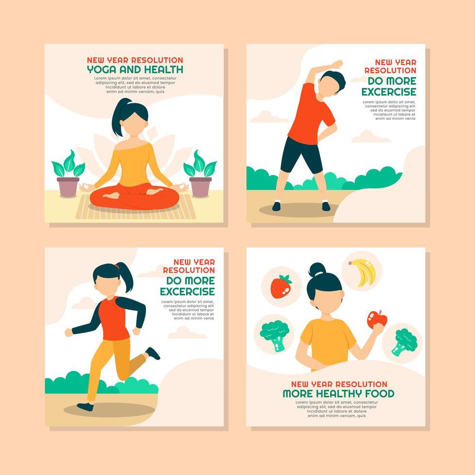byta till hälsosam livsstil som nyårsupplösning vektor