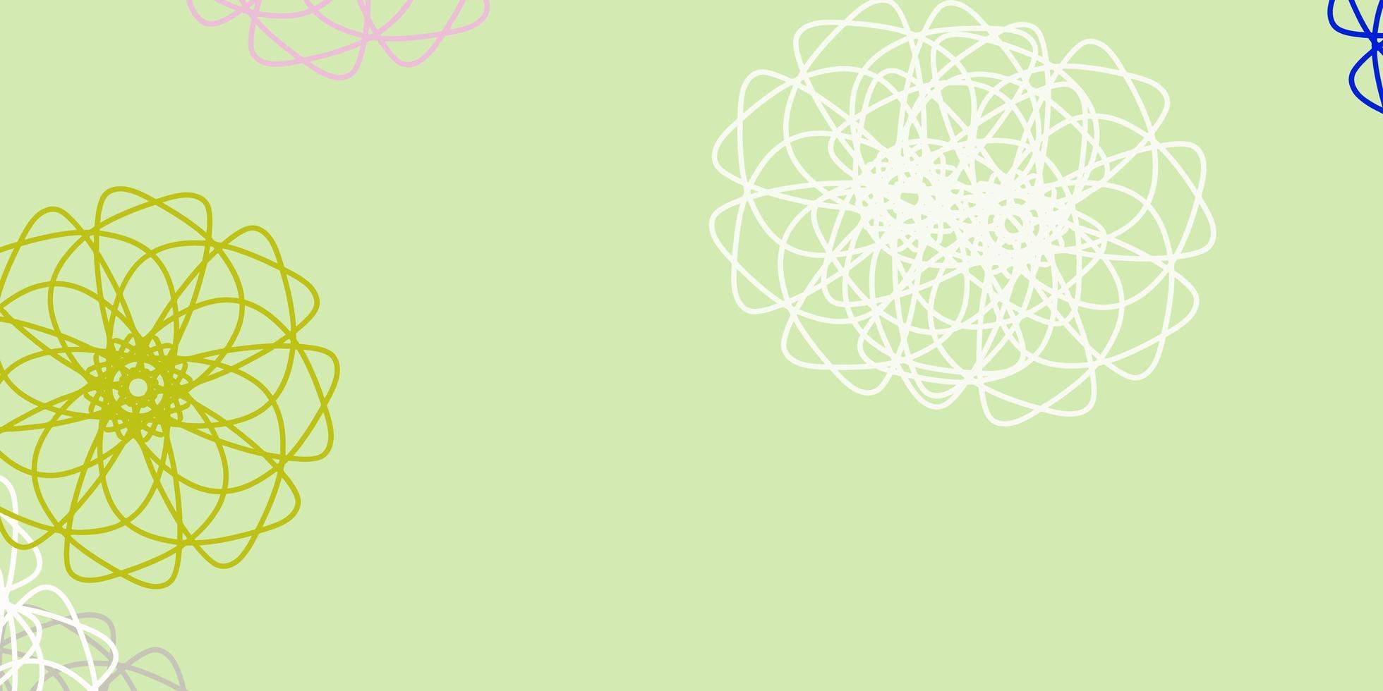 ljus flerfärgad vektor doodle konsistens med blommor.