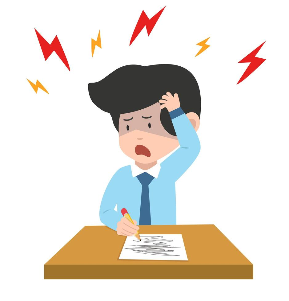 affärsman med huvudvärk som skriver på papper vektor