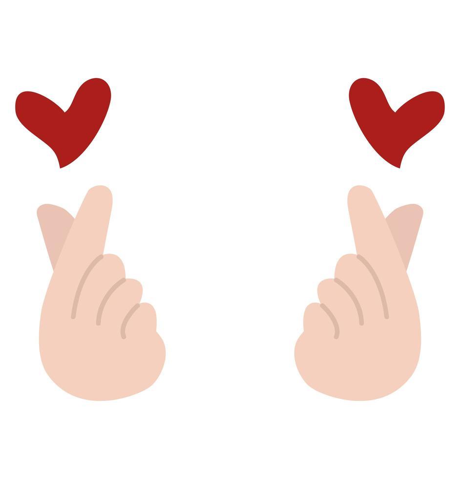händer som gör en mini hjärtsymbol vektor