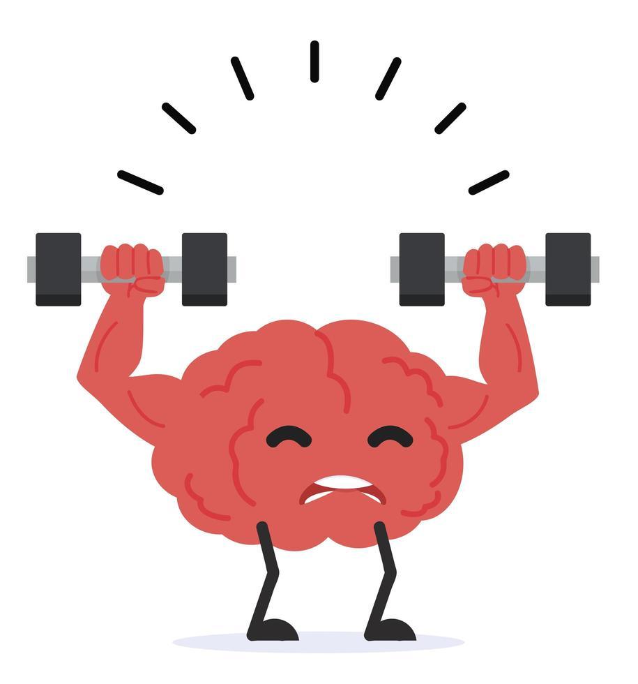 starkes menschliches Gehirn heben wiegen vektor