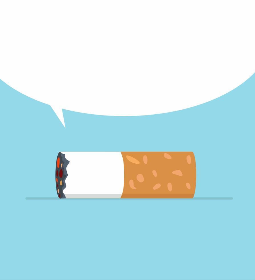 cigarettstump med tom pratbubbla vektor