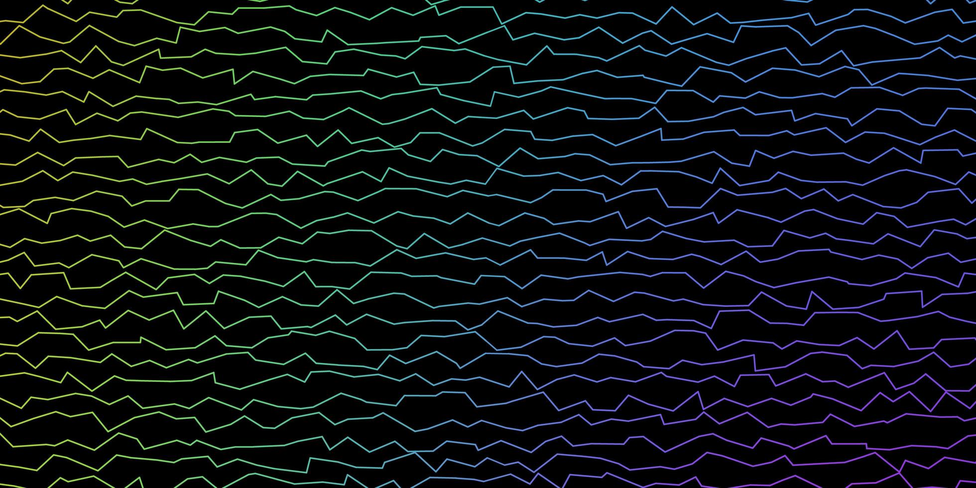 dunkles mehrfarbiges Vektormuster mit gekrümmten Linien. vektor