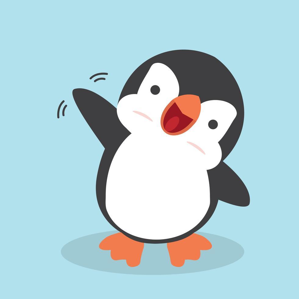 söt tecknad glad pingvin vektor