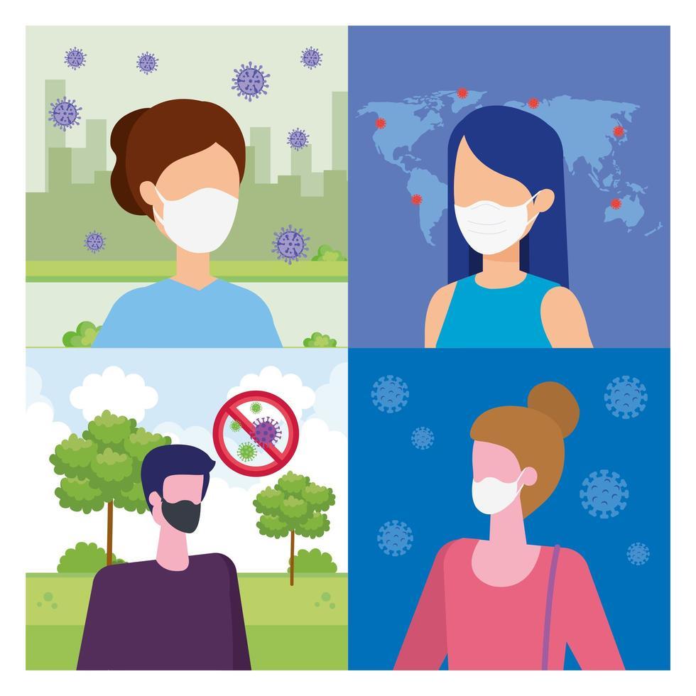 Szenen von Menschen mit Gesichtsmaske mit Partikeln abdecken 19 vektor