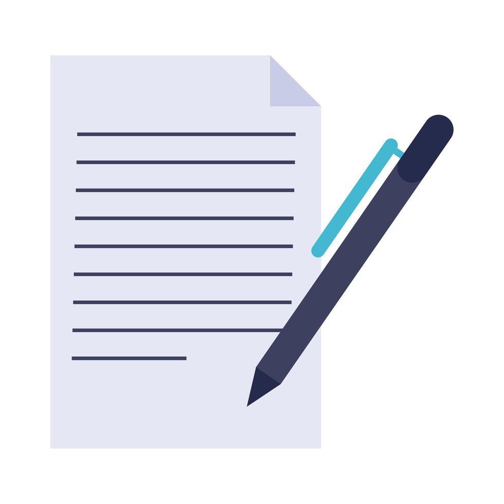 Papierdokument mit Stift flaches Stilikone vektor