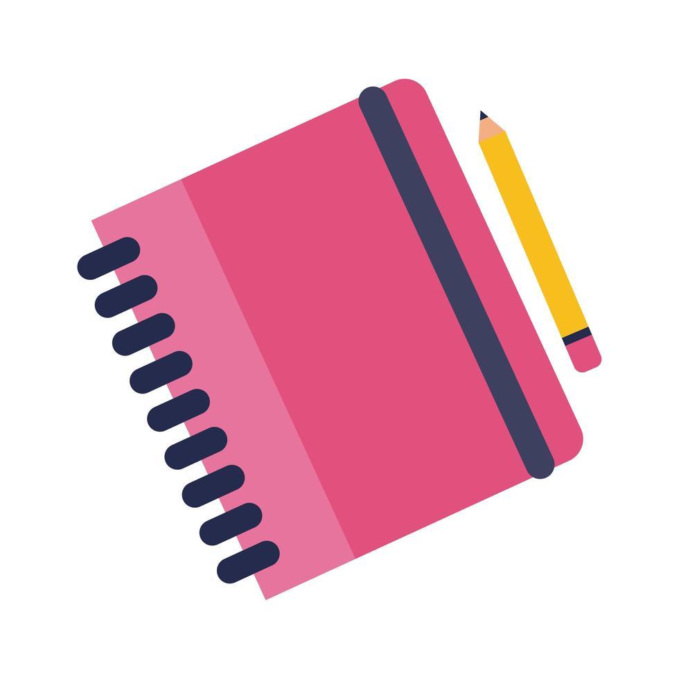 anteckningsbok med penna platt stilikon vektor