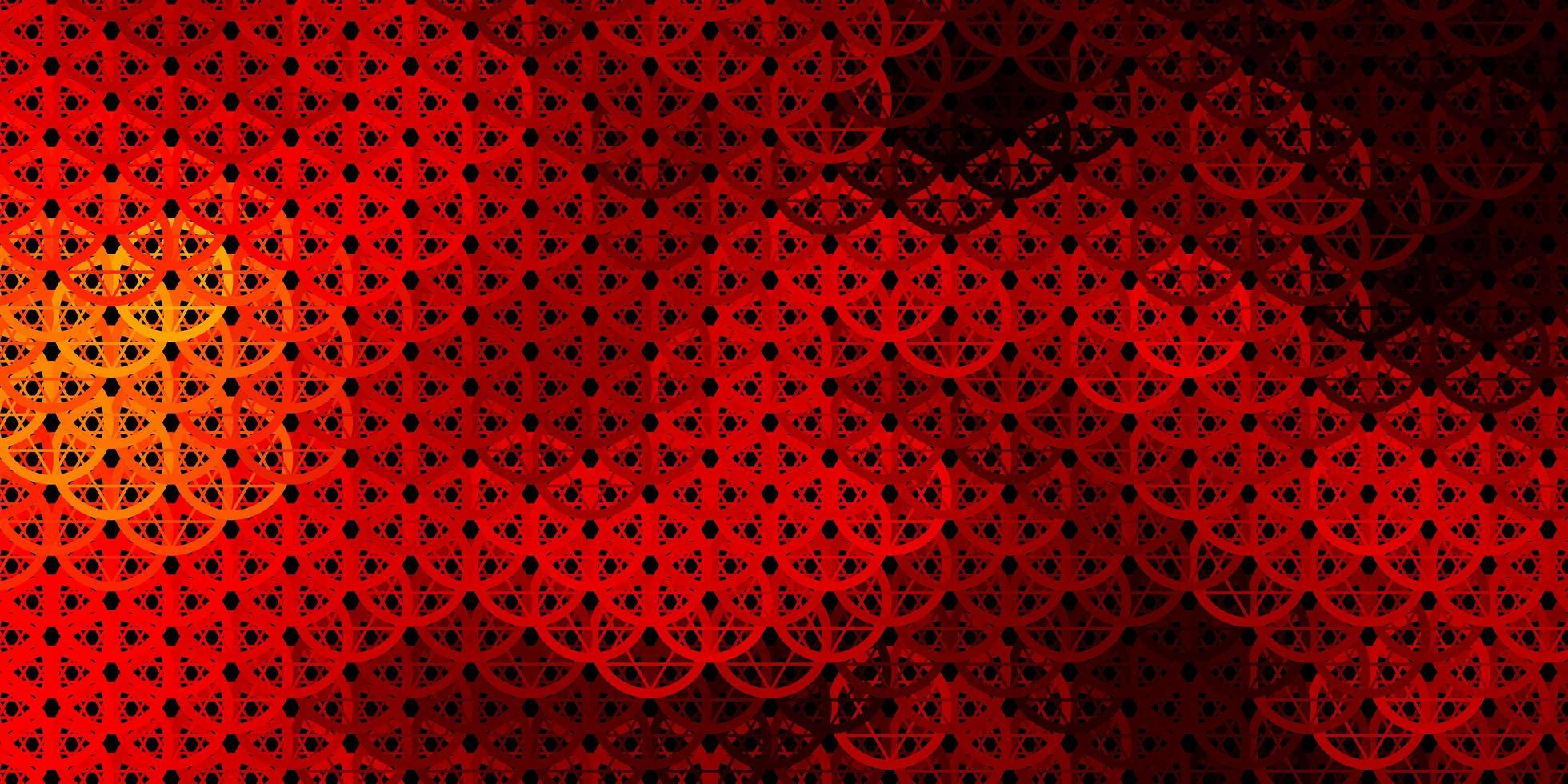 dunkeloranger Vektorhintergrund mit Mysteriumsymbolen. vektor