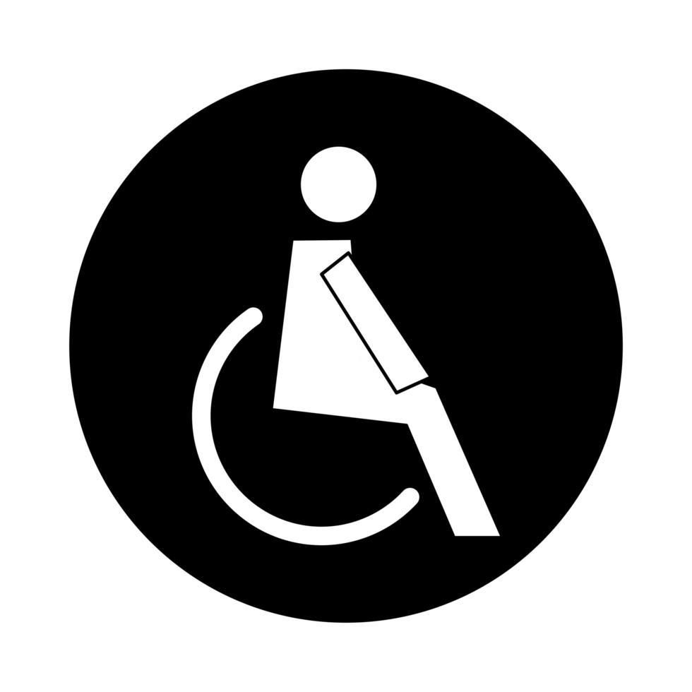 menschliche Figur im Rollstuhlgesundheitspiktogrammblockstil vektor