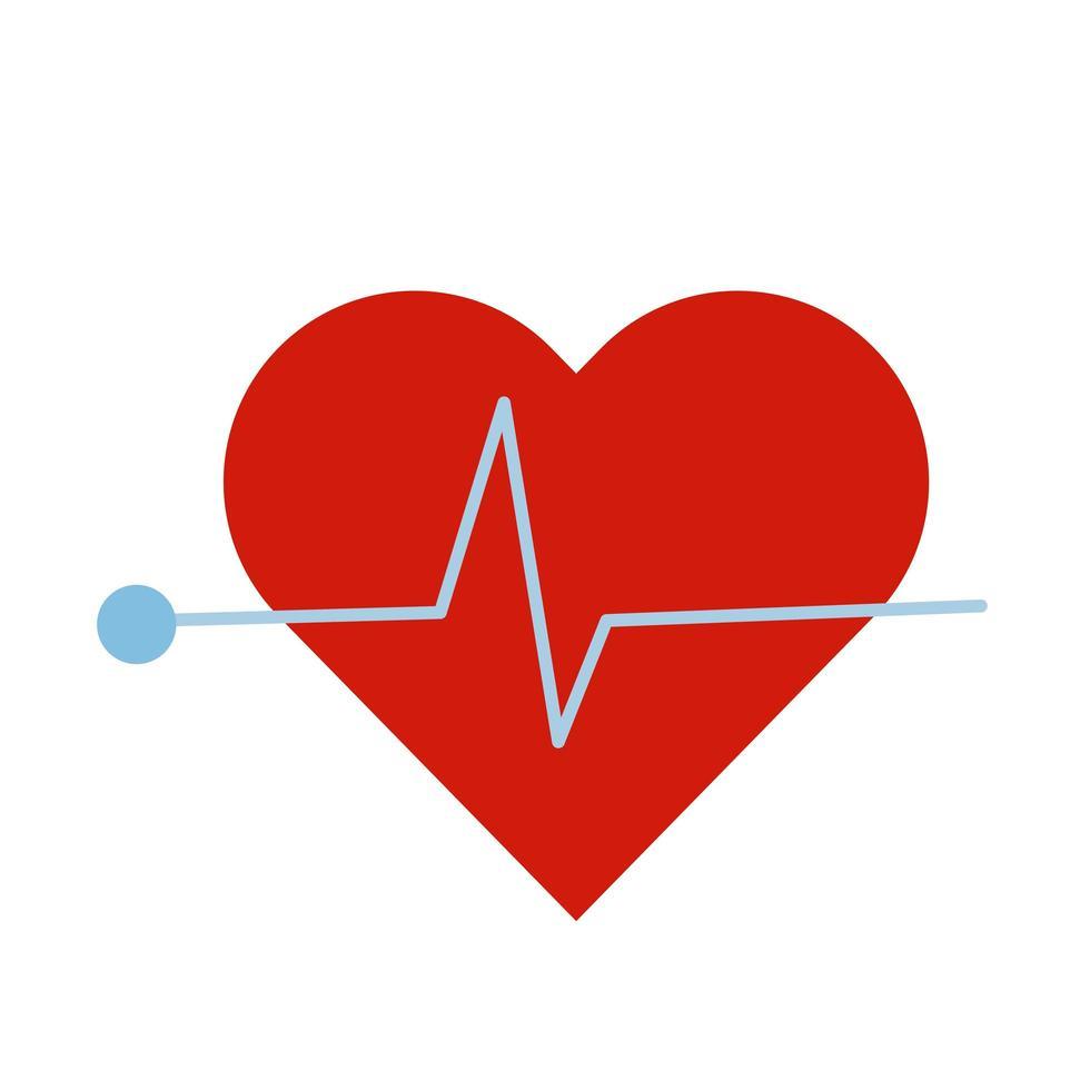 hjärta cardio platt stilikon vektor