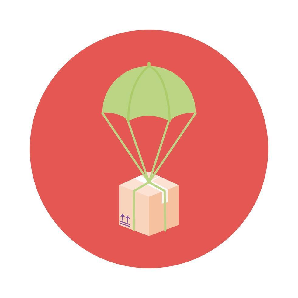 låda i fallskärm leverans service block stil vektor