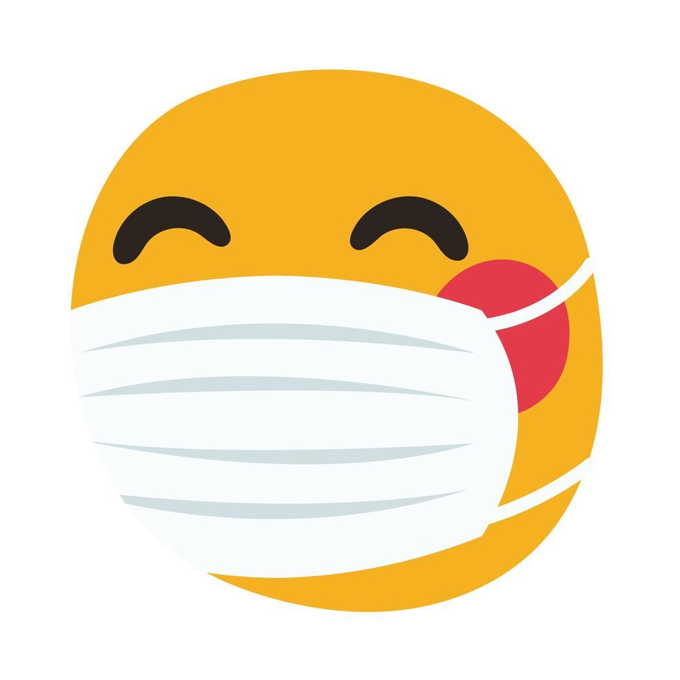 emoji som bär medicinsk mask handdragstil vektor