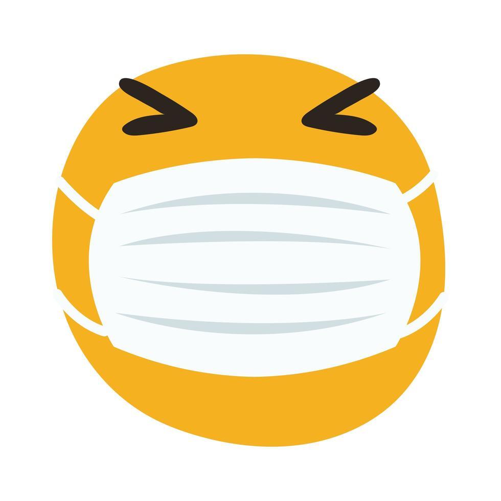 Emoji trägt medizinische Maske Hand zeichnen Stil vektor