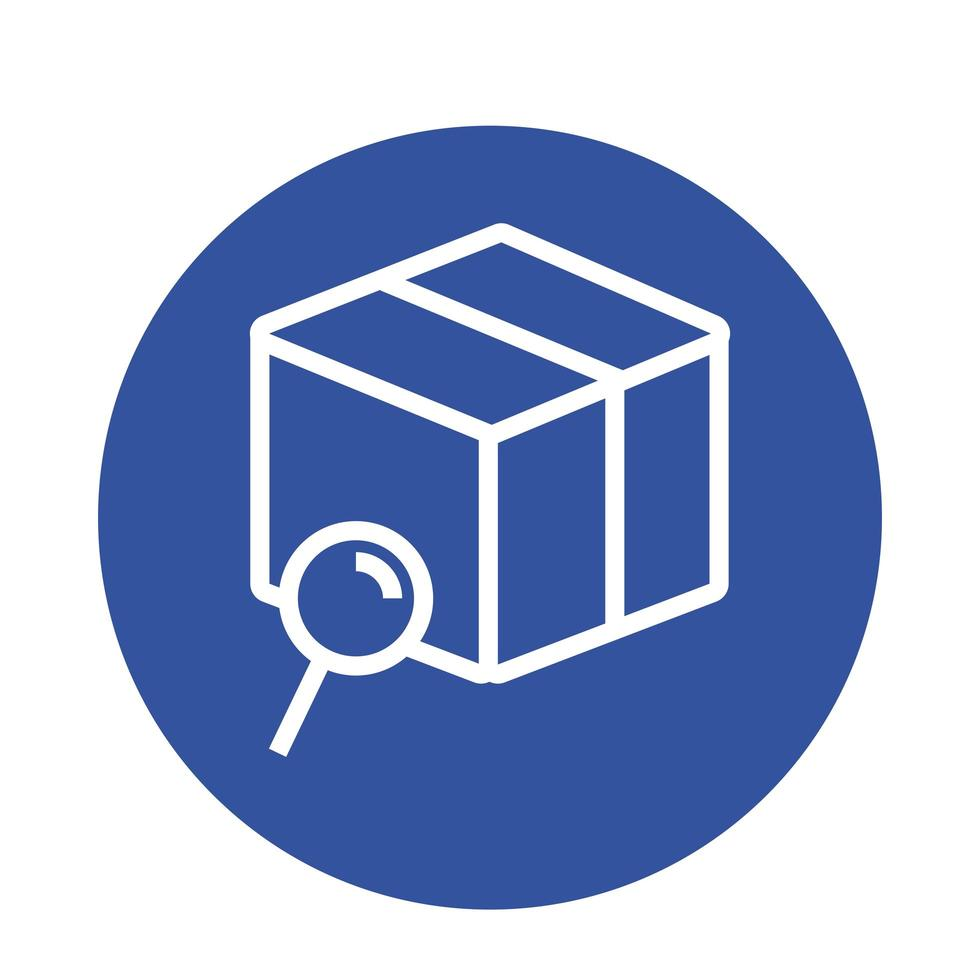 låda med förstoringsglas leverans block stil vektor