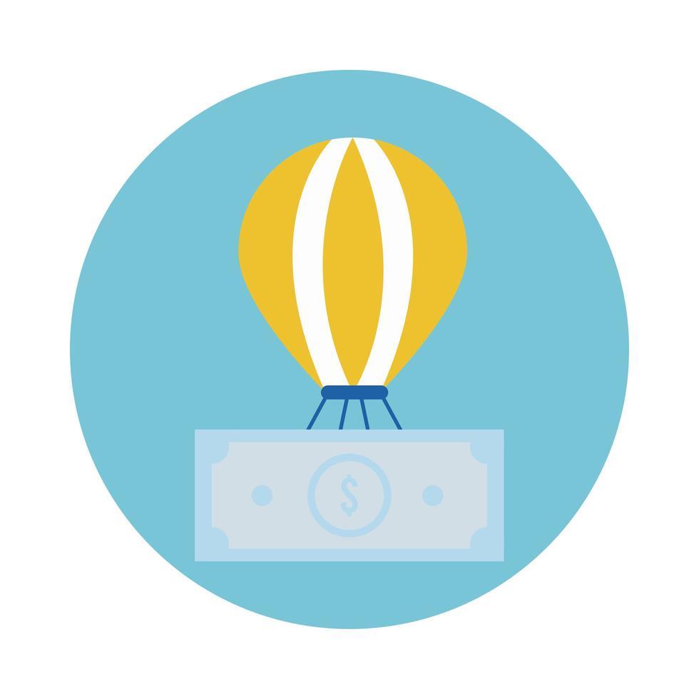 räkningar pengar dollar i ballongluft varm block stil vektor