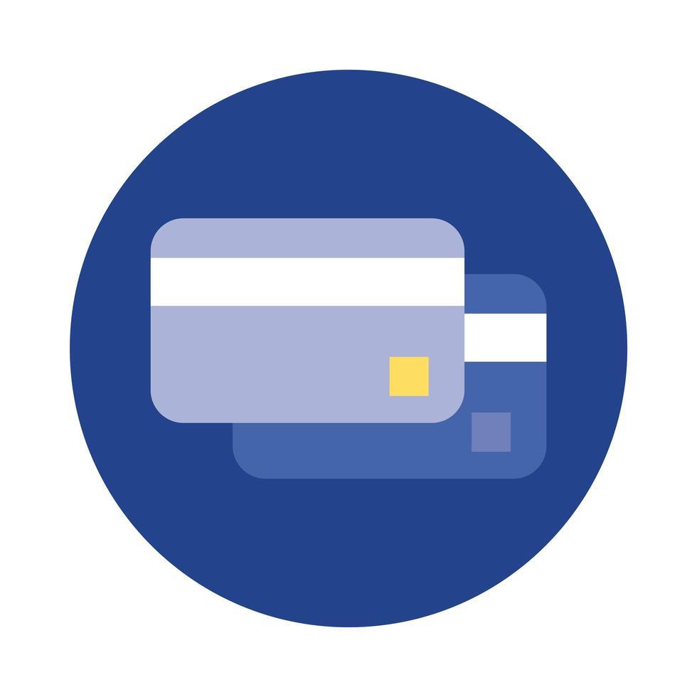 Kreditkartenblock und flache Stilikone vektor