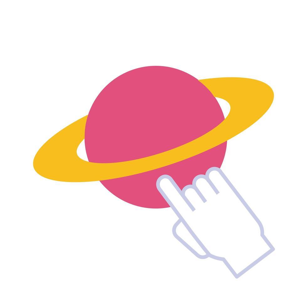 Saturn Planet mit Mauszeiger flachen Stil vektor