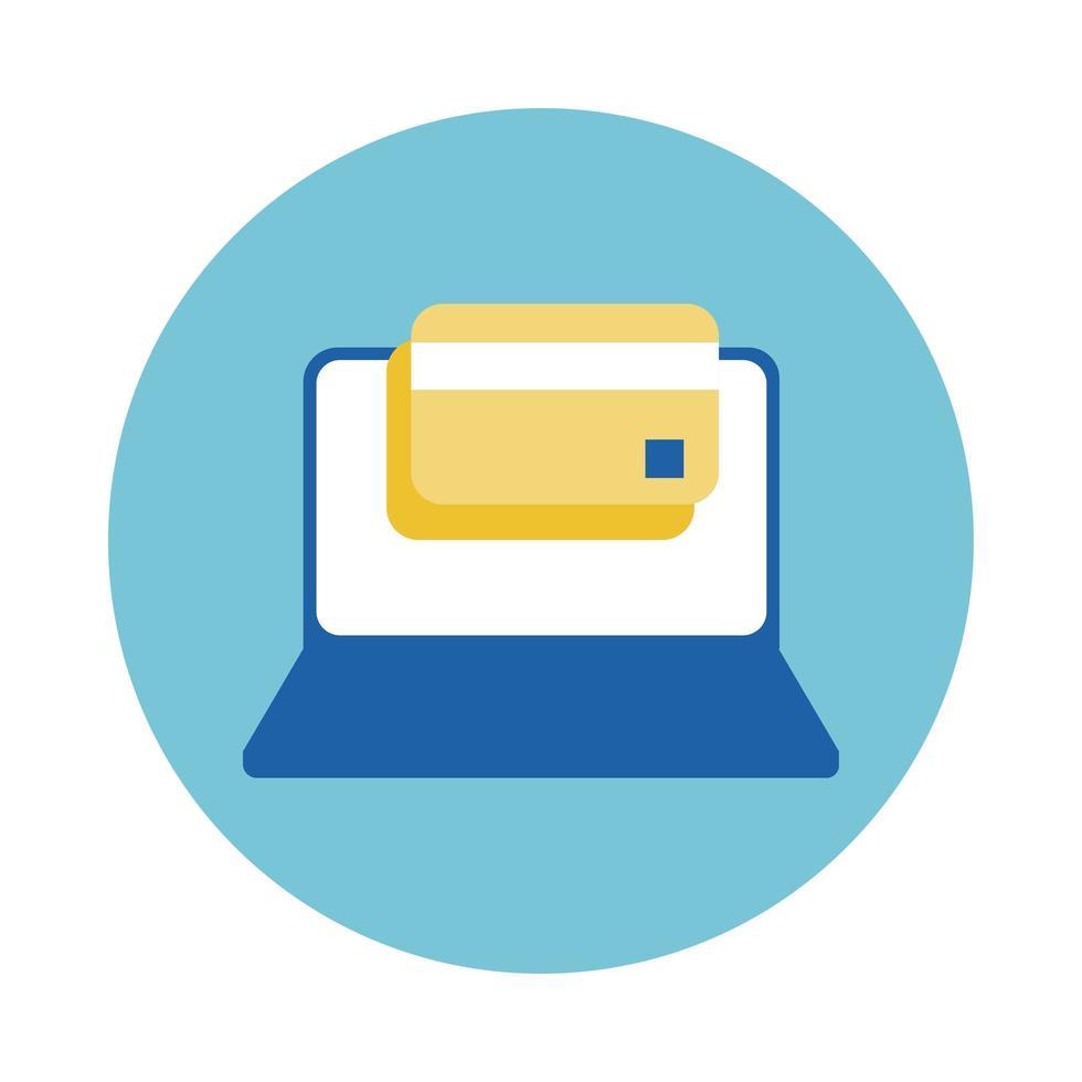 Laptop mit Kreditkartenblock-Stilikone vektor