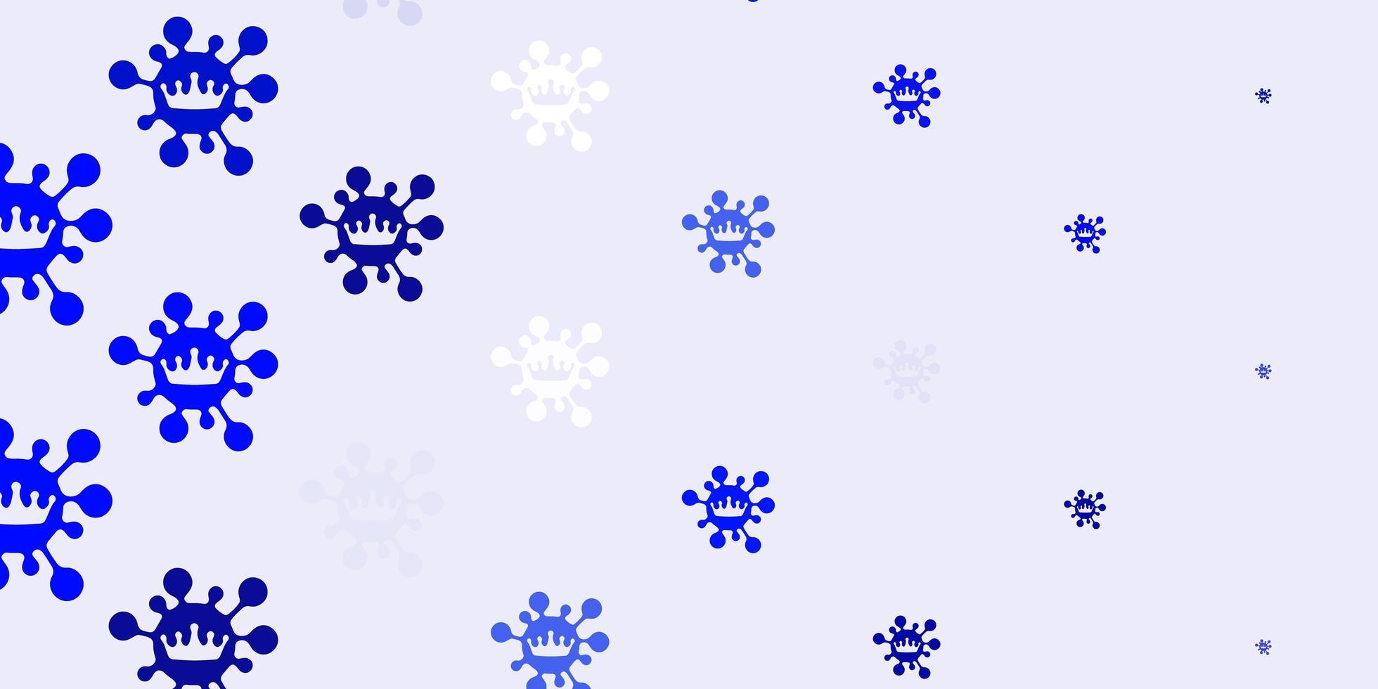 ljusblå vektor bakgrund med covid-19 symboler