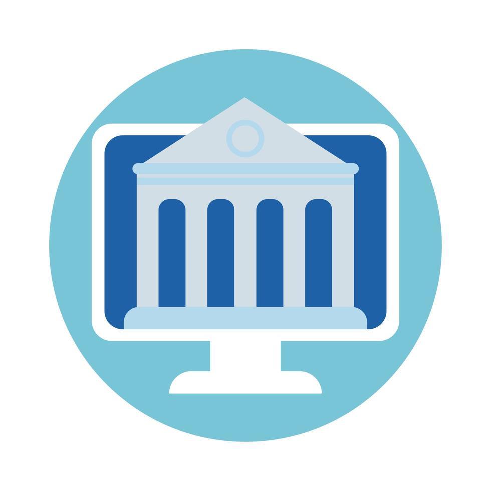 Desktop mit Bankbaustein-Stilsymbol vektor