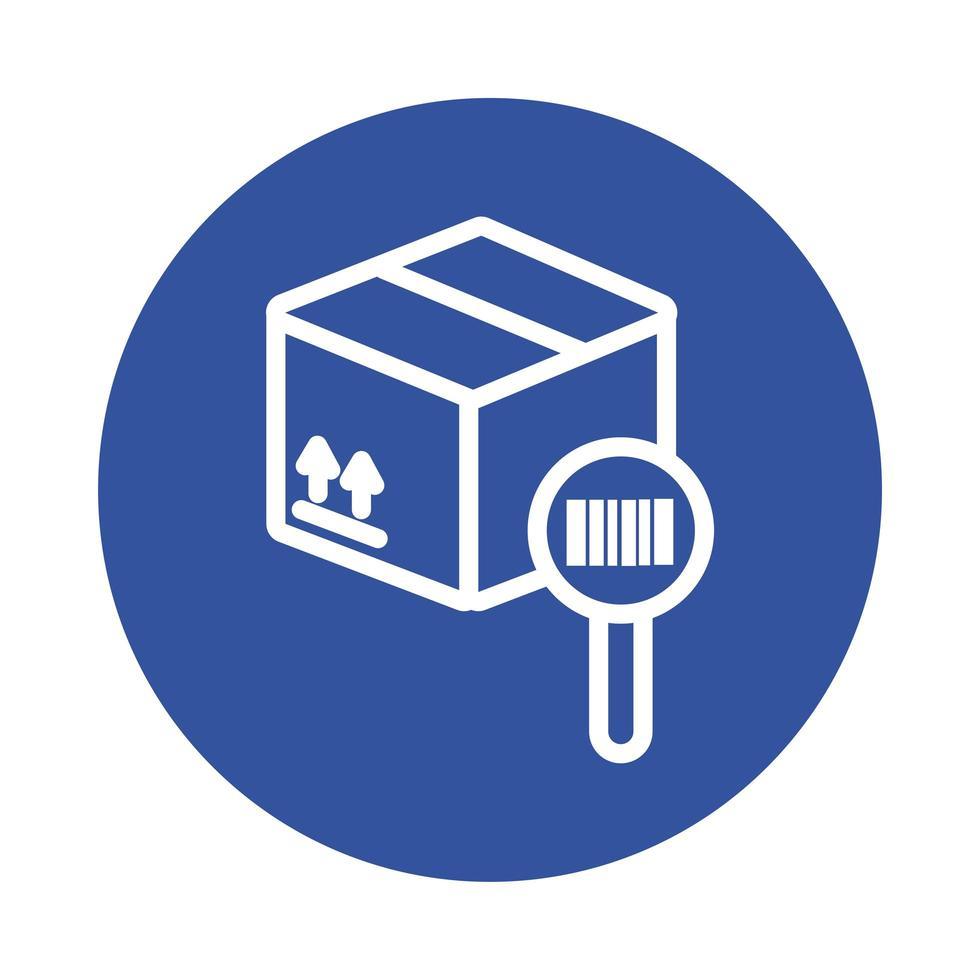 låda med förstoringsglas och streckkodsblockstil vektor
