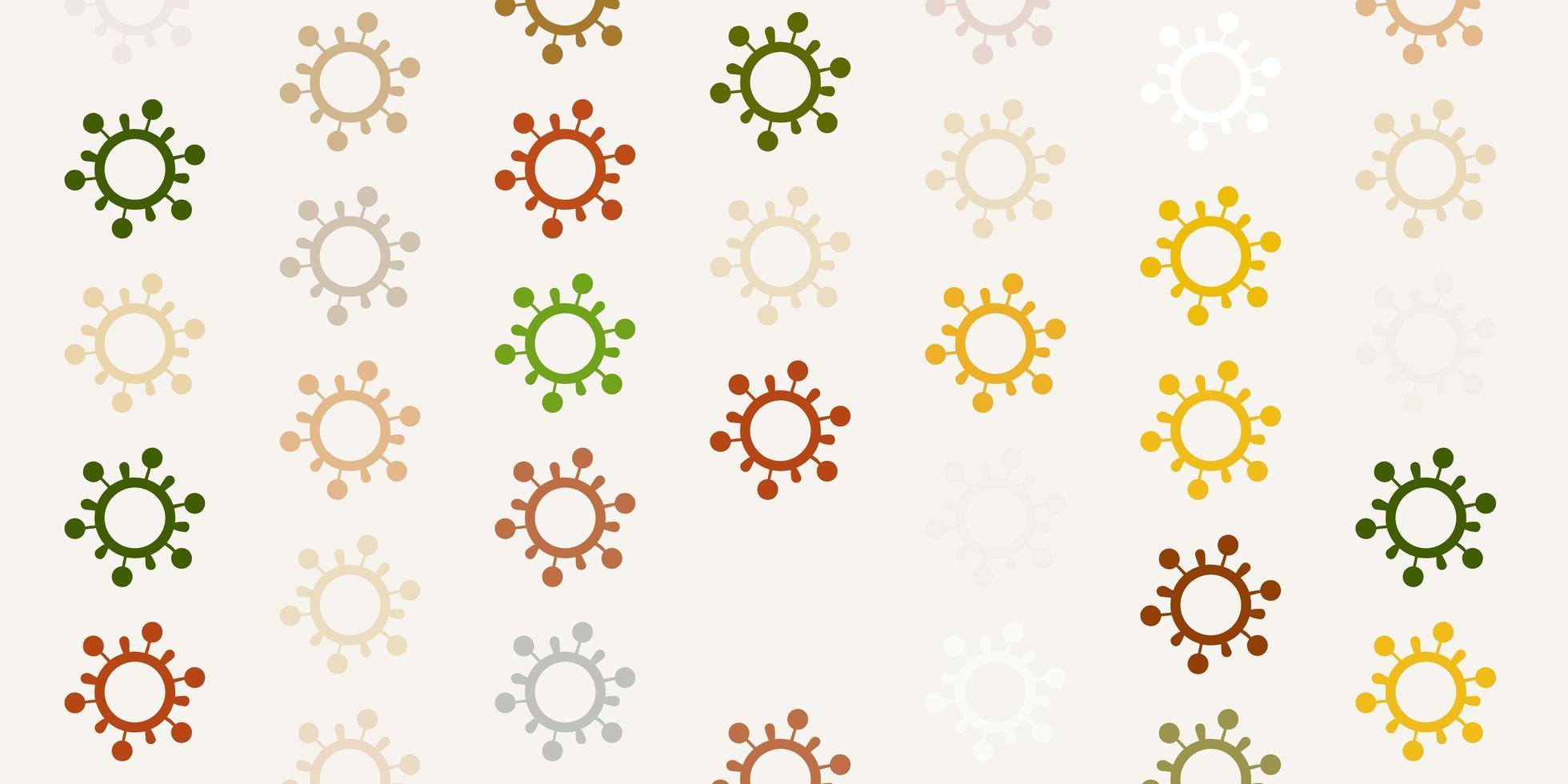 hellgrüne, gelbe Vektorbeschaffenheit mit Krankheitssymbolen. vektor