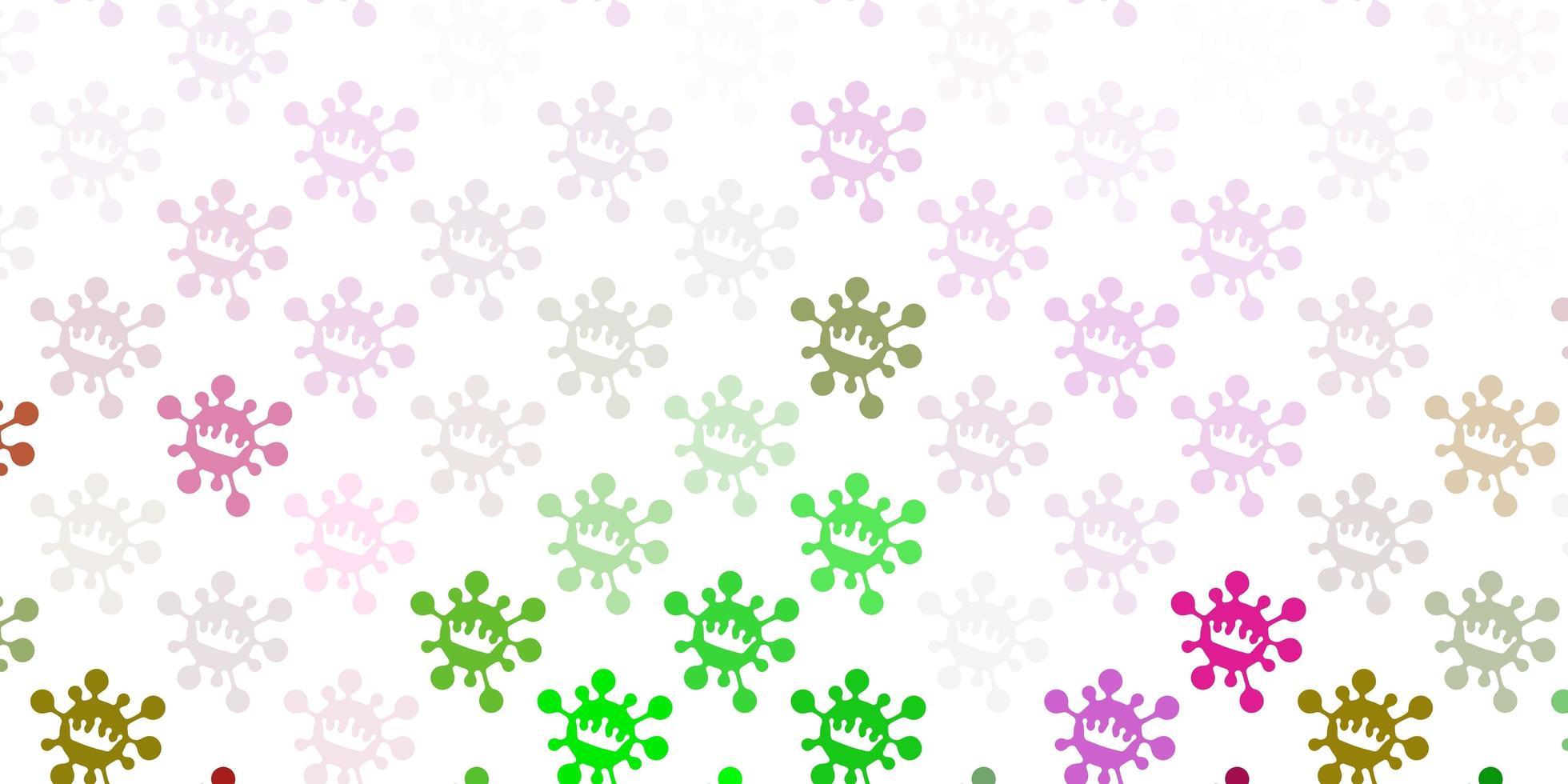hellrosa, grüne Vektorbeschaffenheit mit Krankheitssymbolen. vektor