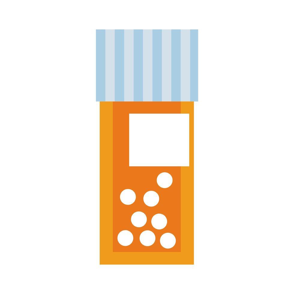 medizinische Flasche Medikamente mit Pillen flachen Stil vektor