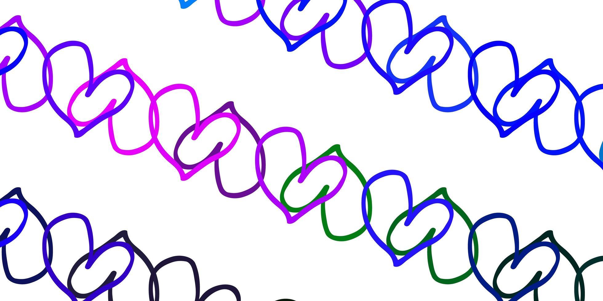 hellrosa, blauer Vektorhintergrund mit leuchtenden Herzen. vektor