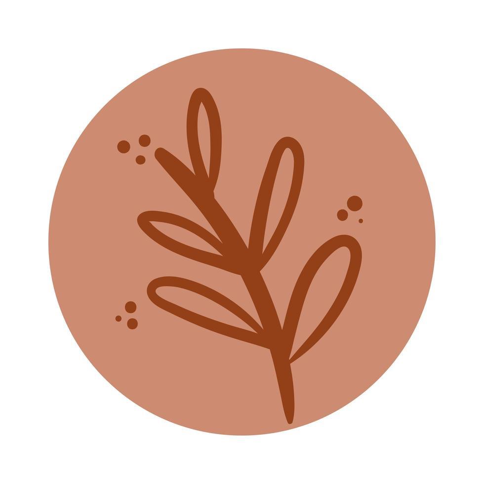 Zweig mit Blättern Boho Hand gezeichneten Stil vektor
