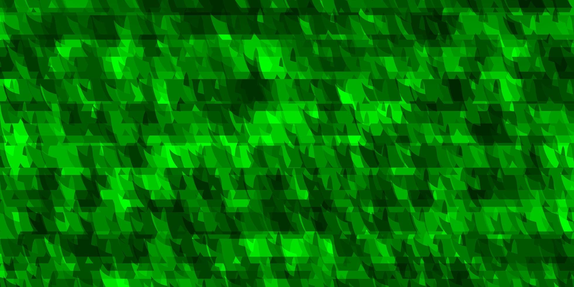 hellgrüne Vektorschablone mit Linien, Dreiecken. vektor