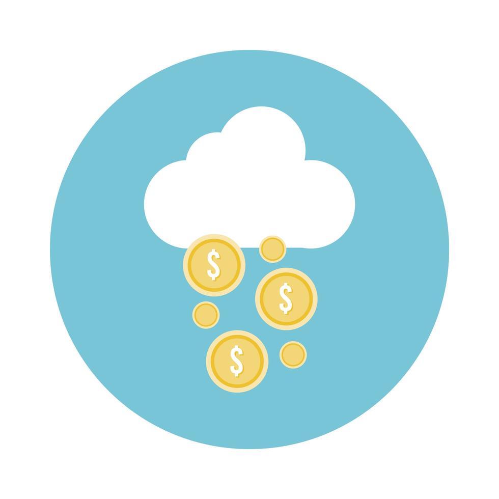 mynt pengar dollar med moln block stil ikon vektor