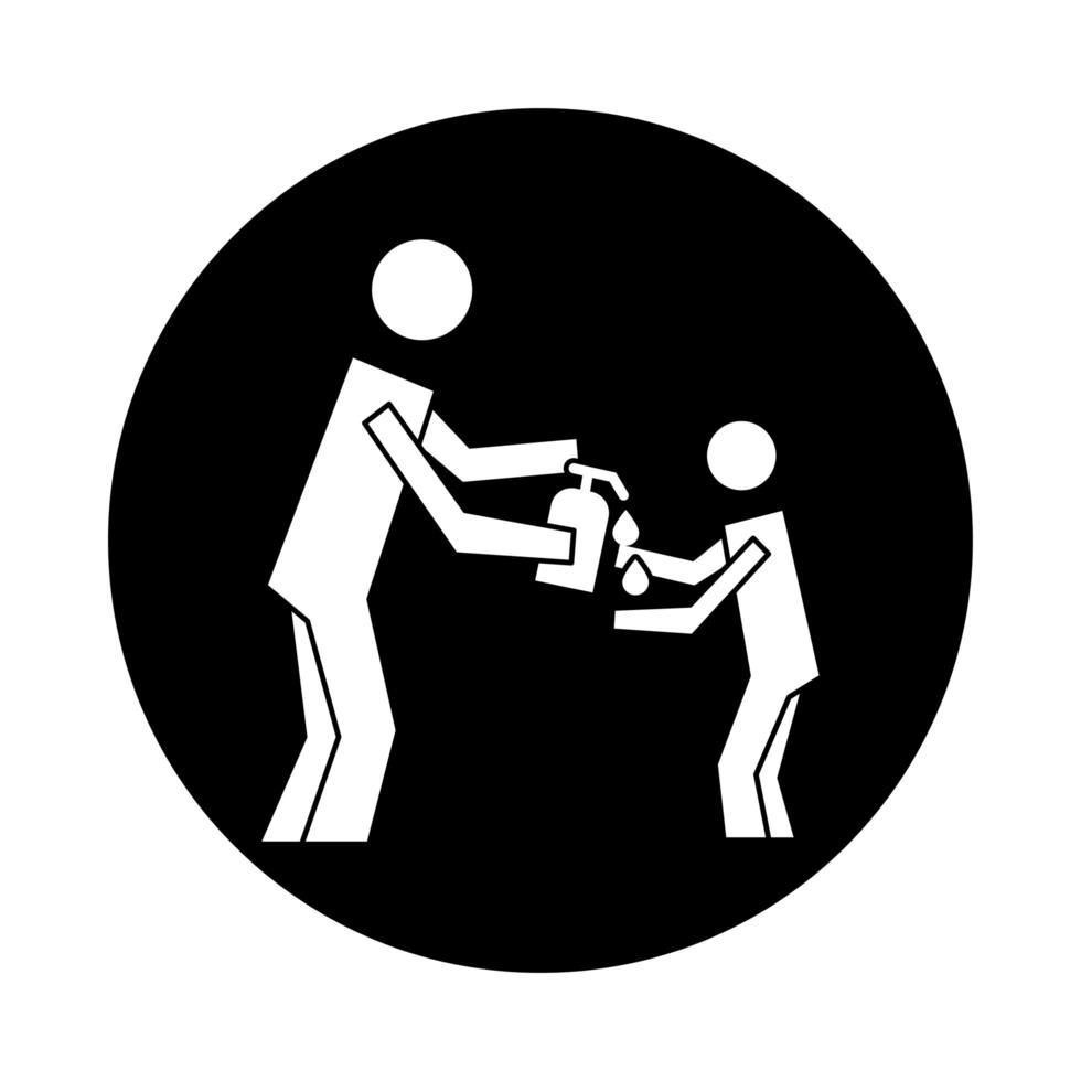 Mensch mit antibakterieller Seife Gesundheit Piktogramm Block Stil vektor