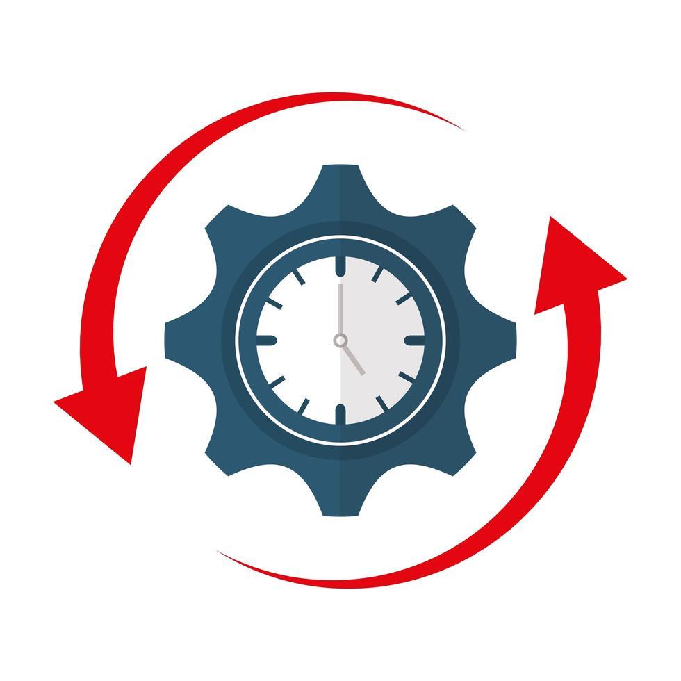isoliertes Uhr- und Zahnradvektordesign vektor