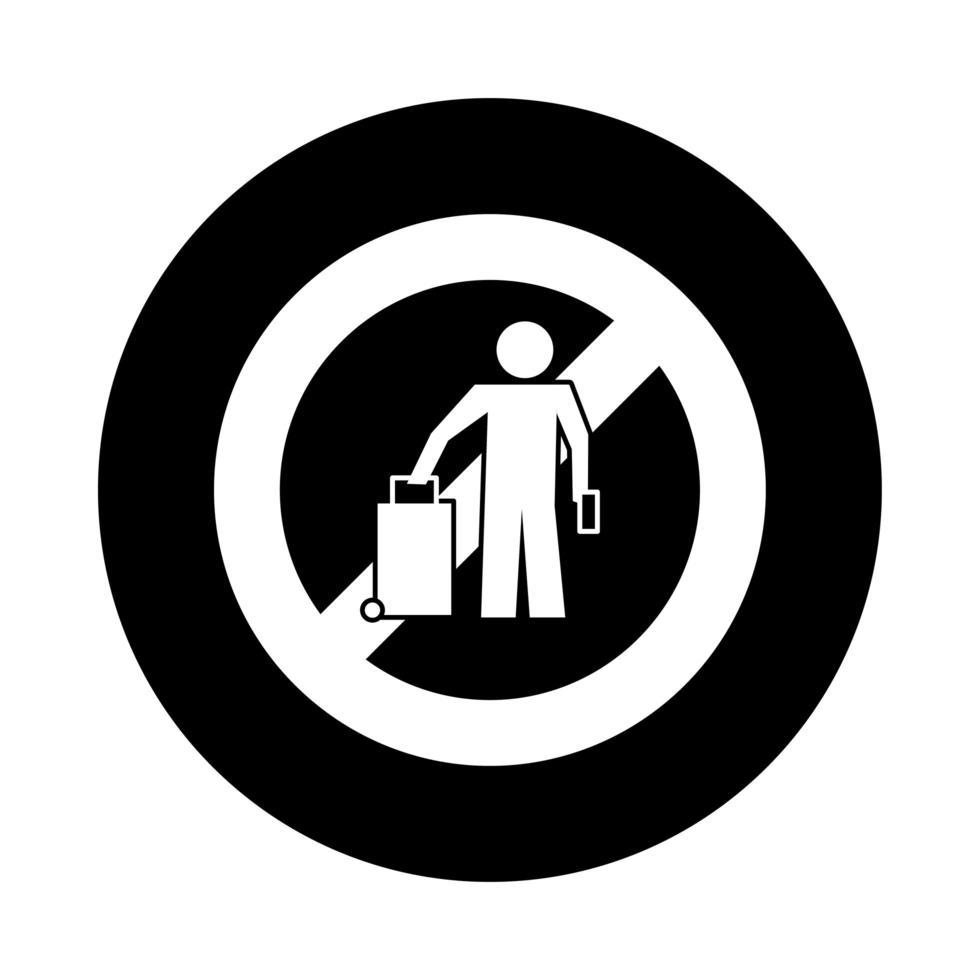 Mensch mit Reise verboten Signalblock-Stil vektor