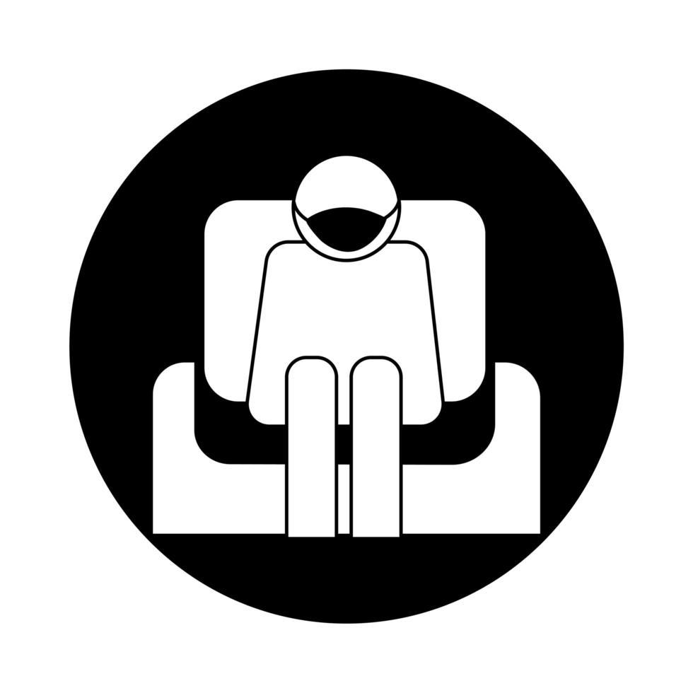 Mensch mit Gesichtsmaske im Sofa Gesundheit Piktogramm Block Stil sitzen vektor