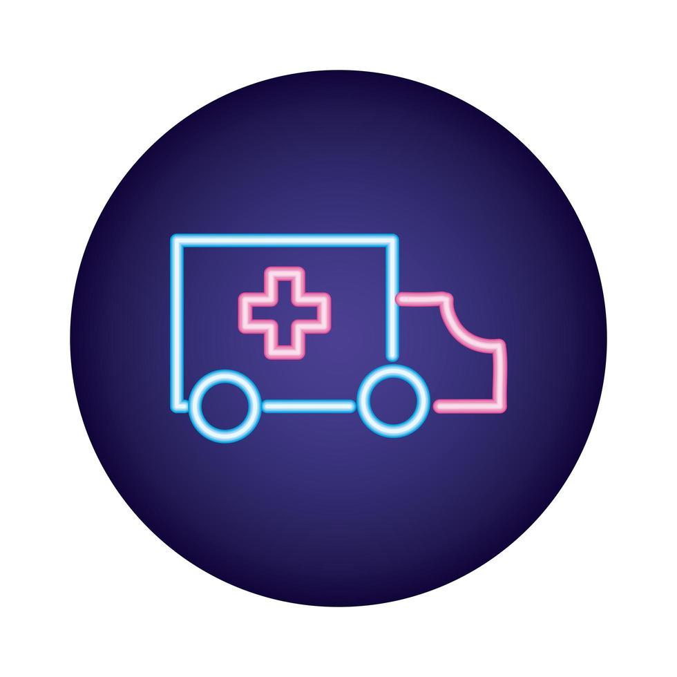 ambulans bil neon stil ikon vektor