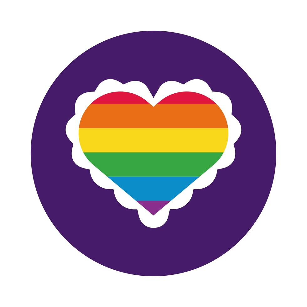 Herz mit Gay Pride Flag Block Style vektor