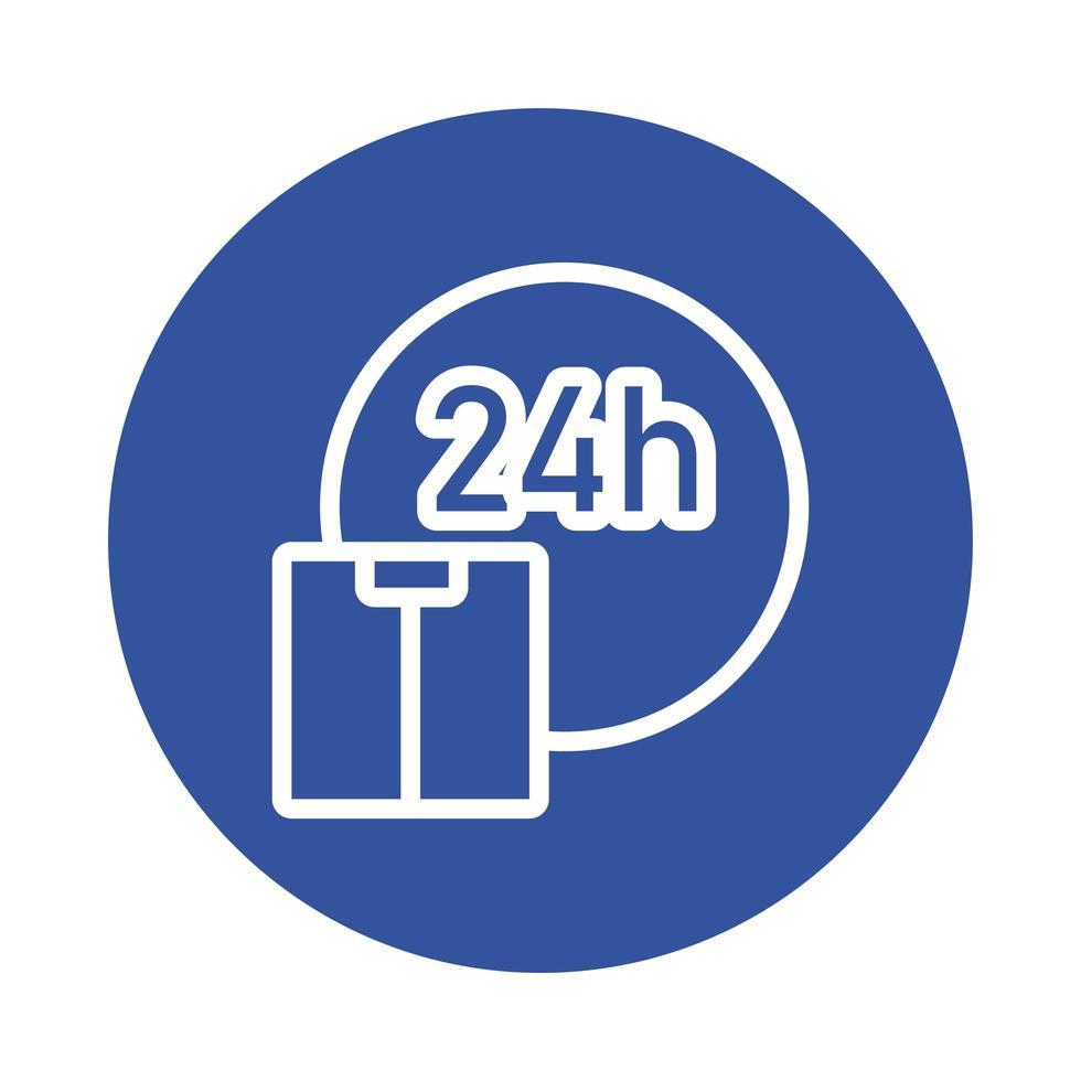 tid 24 timmar service och box block stil vektor