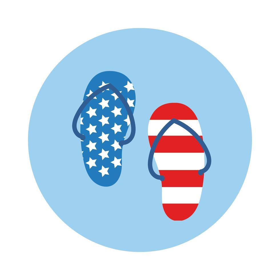 Sandalen mit USA Flag Block Style vektor