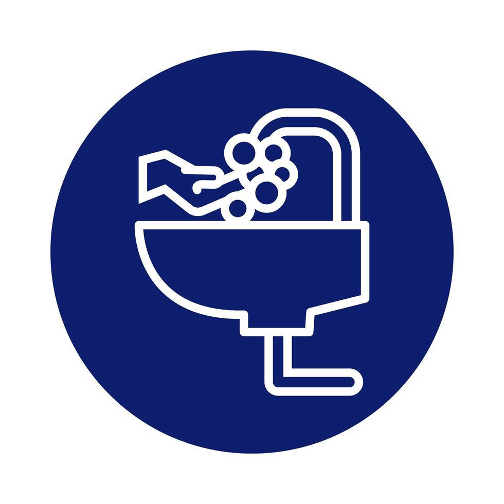 Handwäsche im Badezimmer Tap Block Style Icon vektor