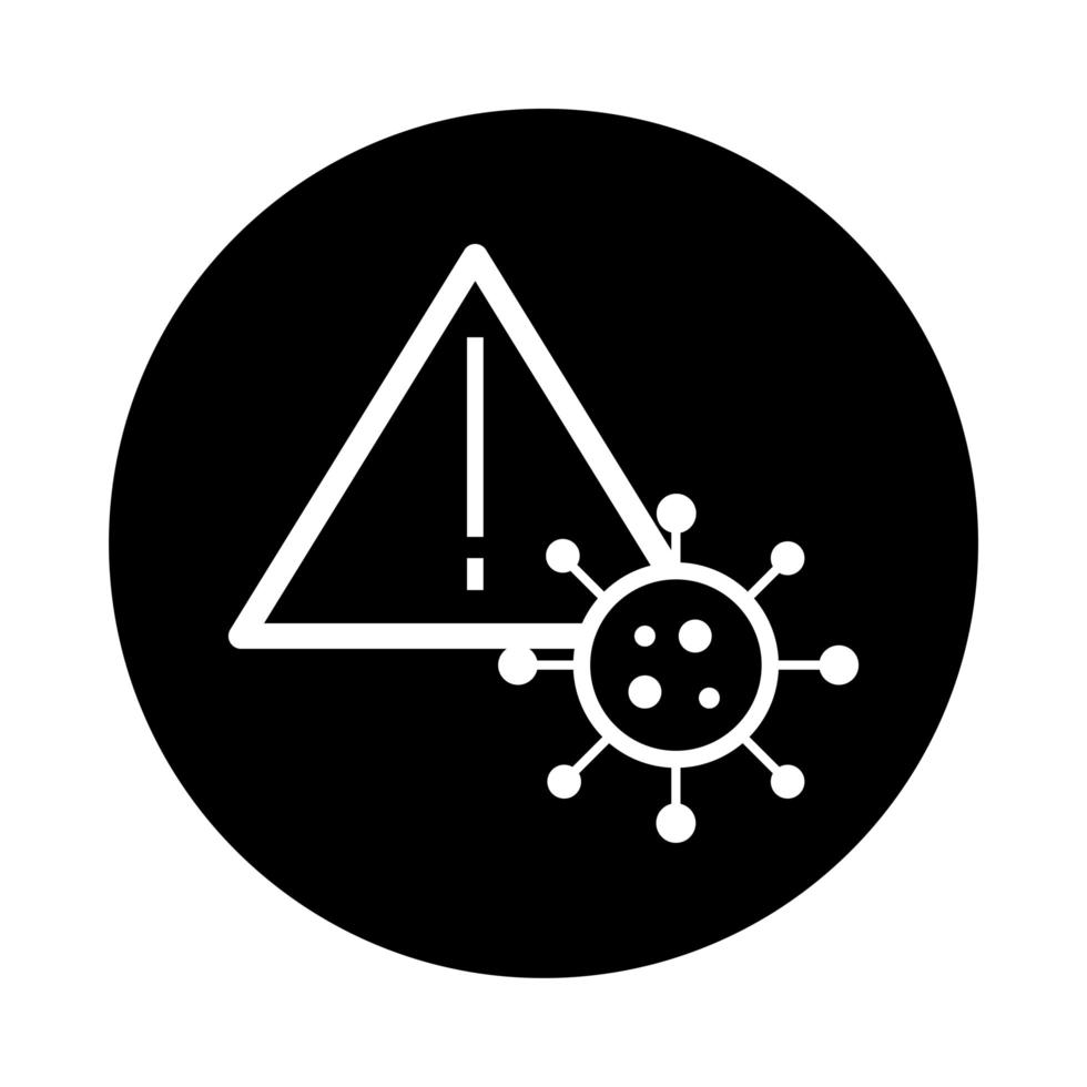 covid19 partikel med varningssignal hälsa piktogram block stil vektor