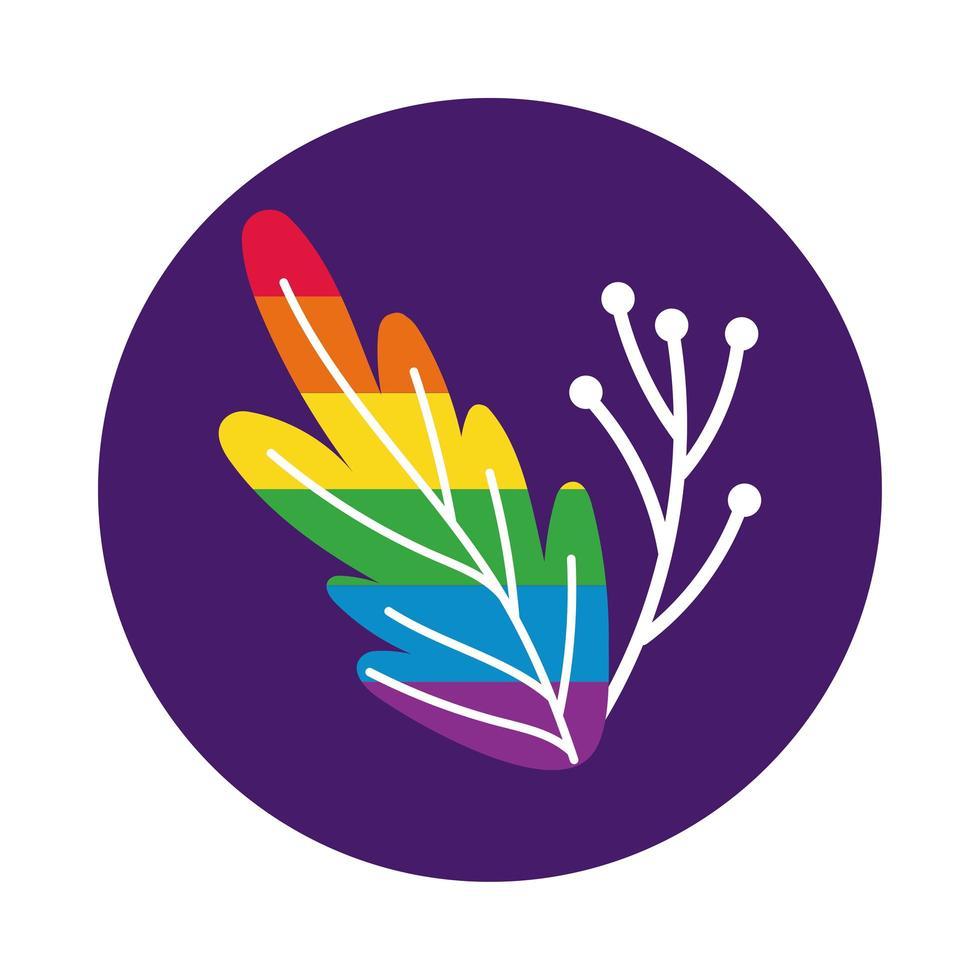 Zweig und Blatt mit Gay Pride Flag Block Style vektor