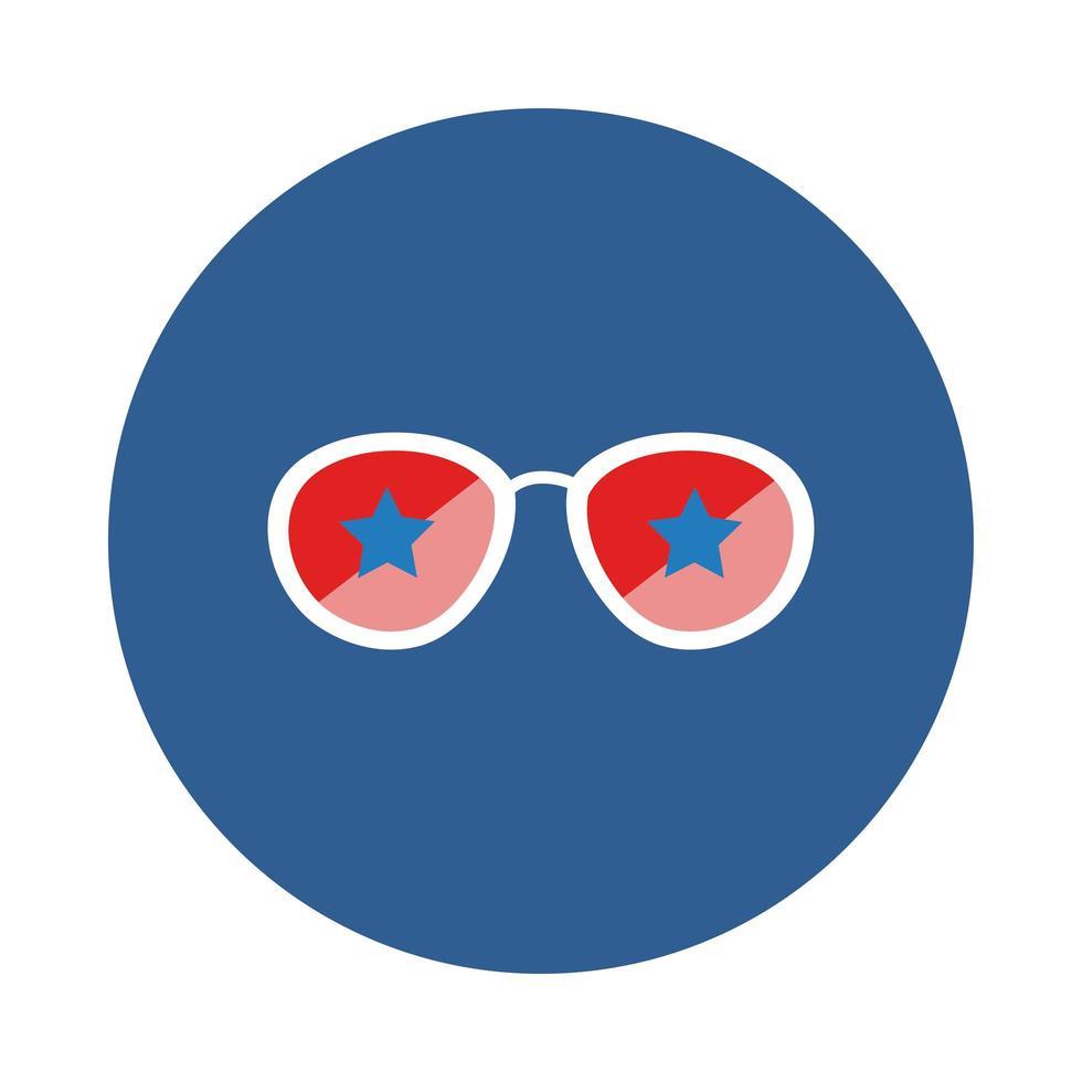 Sonnenbrille mit Sternen im Blockstil vektor