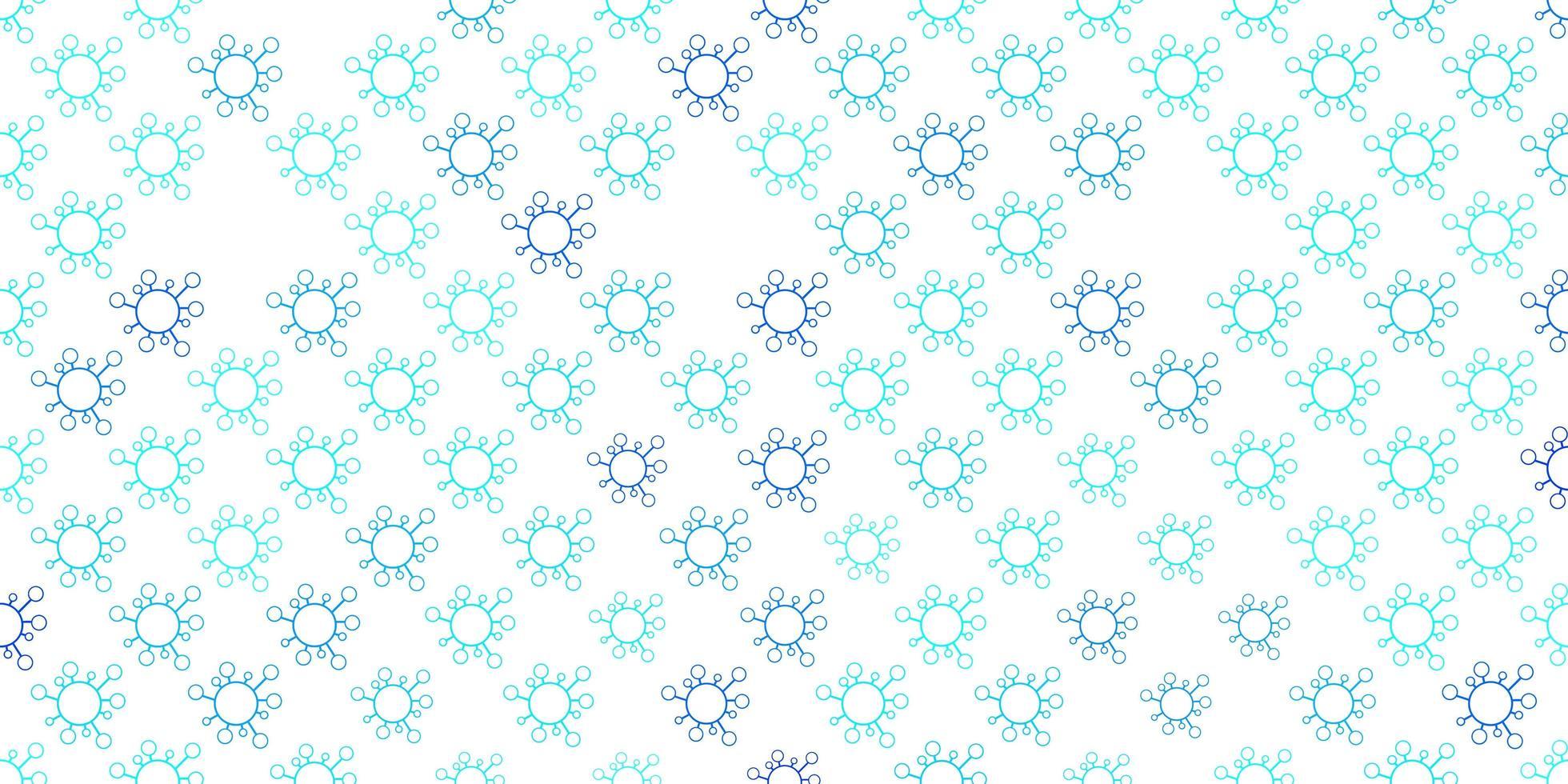 ljusblå vektor bakgrund med covid-19 symboler.