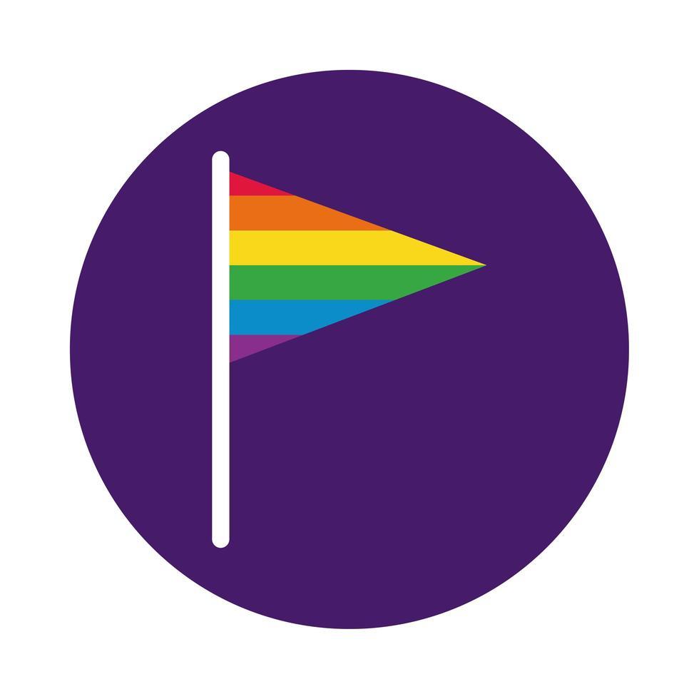 flagga färger gay pride block stil vektor